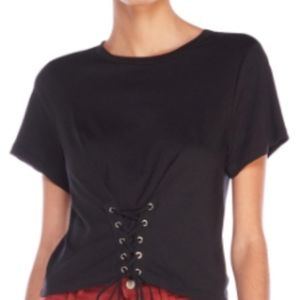 Lush Tie-Front Corset T-Shirt in Black NWOT